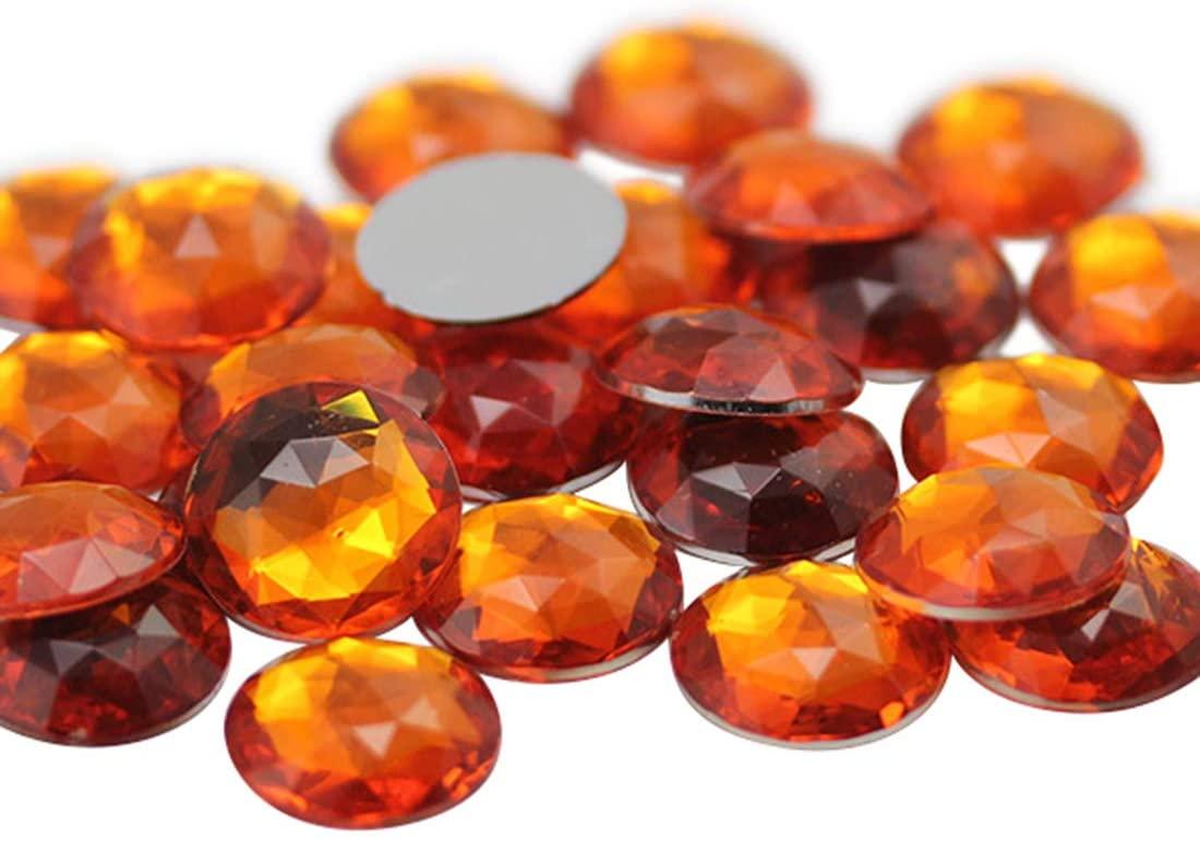 Allstarco 18mm Flat Back Round Acrylic Rhinestones Jewels Plastic Gems Embelishments for Cosplay/Costumes Jewelry Making - 30 Pieces (Orange Hyacinth H125)