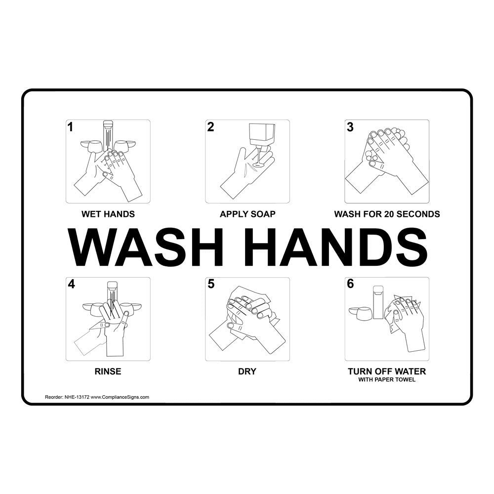 Wash Your Hands Wet Hands Apply Soap Wash for 20 Second Sign, 7x5 in. Plastic for Handwashing by ComplianceSigns