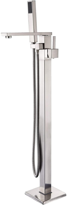 Senlesen Free Standing Tub Filler Stainless Steel Floor Mount Bathtub Shower Faucet with Handheld Sprayer Brushed Nickel