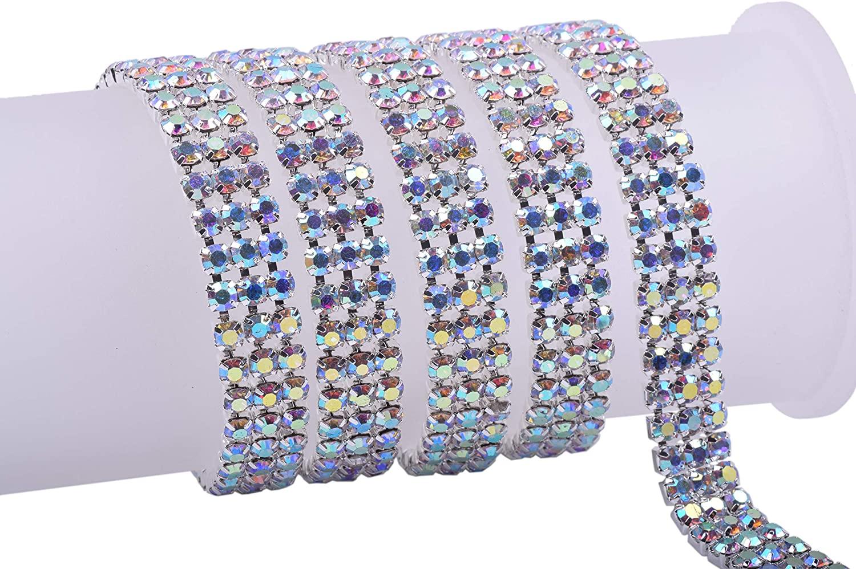 KAOYOO 3 Rows 1 Yard Crystal Rhinestone Chain Trim for Sewing Craft,DIY Decoration,4.0mm/0.16