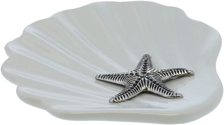 Li'Shay Ceramic Shell Jewelry Trinket Dish Organizer with Ocean Themed Metal Accent- Starfish