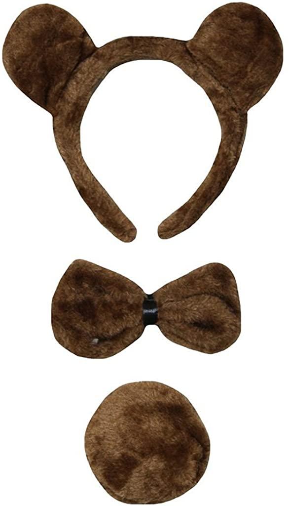 Petitebella Combined Animals Headband Bowtie Tail 3pc Costume