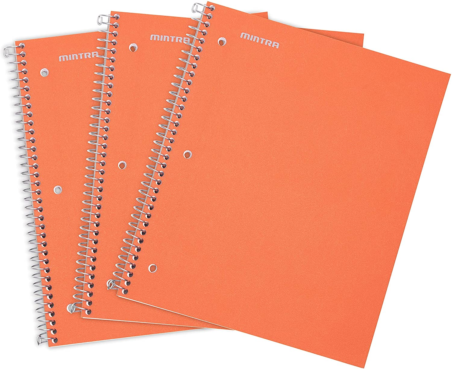 Mintra Office Durable Spiral Notebooks -1 Subject, 100 Sheets, Poly Pocket, Moisture Resistant Cover, Strong Chipboard back, For School, Office, Business, (Orange, Wide Ruled 3 Pack)