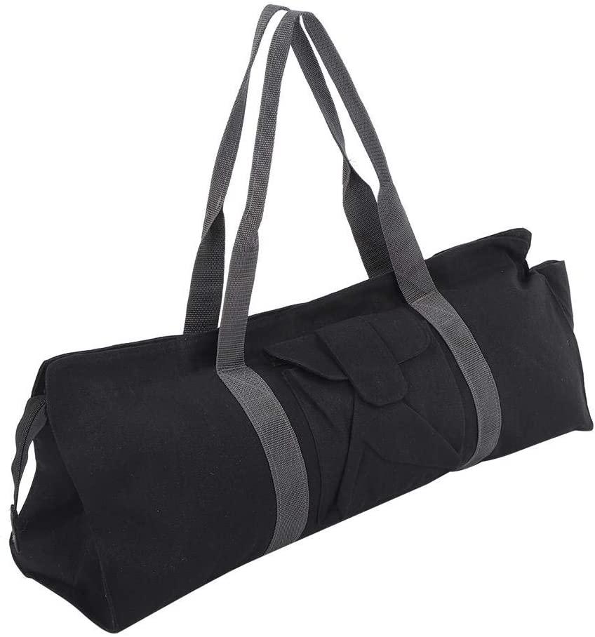 Vbest life Multifunctional Canvas Yoga Gym Mat Storage Bag Carrier Storage Bag Single Shoulder Bag for Sports Black