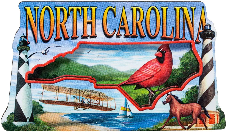 Artisan Owl North Carolina State Wooden Souvenir Refrigerator Magnet