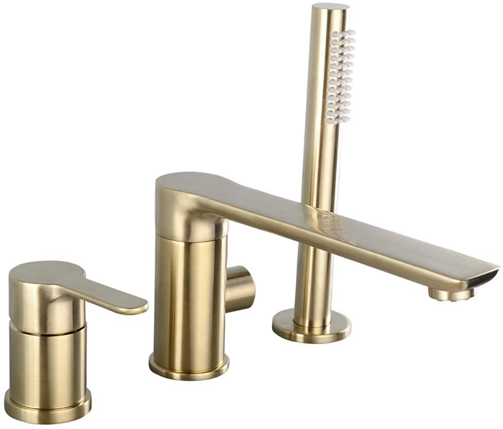 Contemporary Bathtub Faucet Brushed Gold 3-Hole Bathroom Waterfall Bathtub Faucet Roman Tub Filler with Handheld Shower