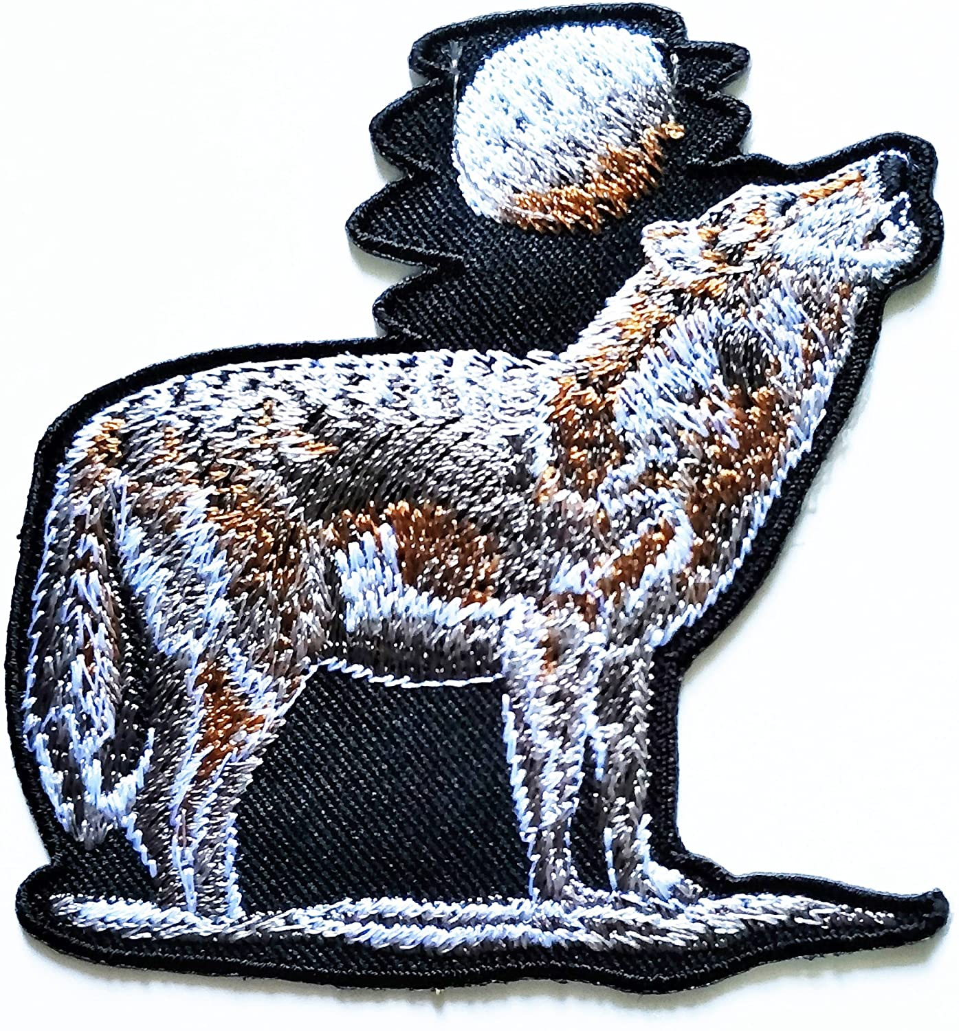 HHO Howling Wolf Patch Embroidered DIY Patches Cute Applique Sew Iron on Kids Craft Patch for Bags Jackets Jeans Clothes