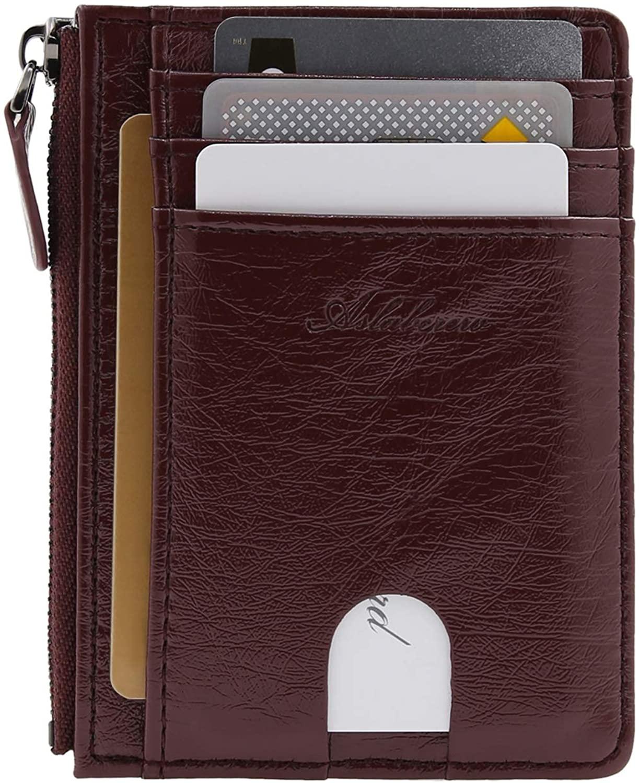 AslabCrew Genuine Leather Minimalist Zipper Credit Card Holder Slim Wallets, RFID Blocking