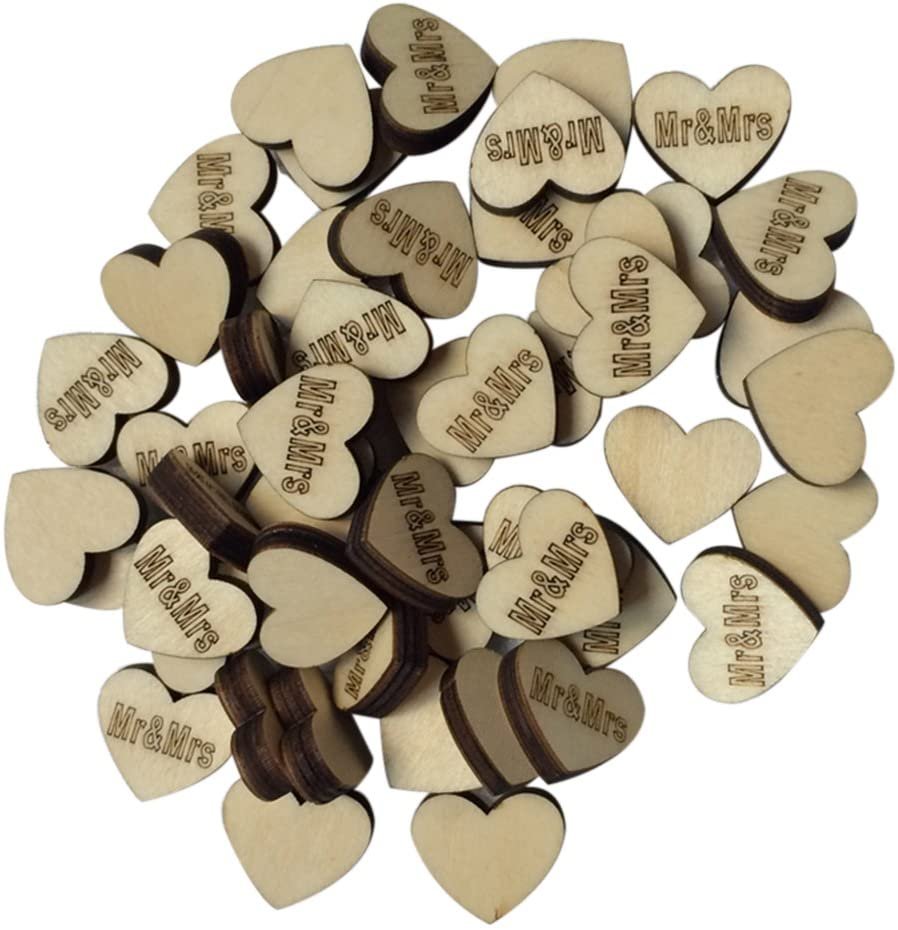 BESTOYARD Wedding Decoration Wooden Hearts for Wedding Embellishments Table Confetti Decoration Accessory 50PCS