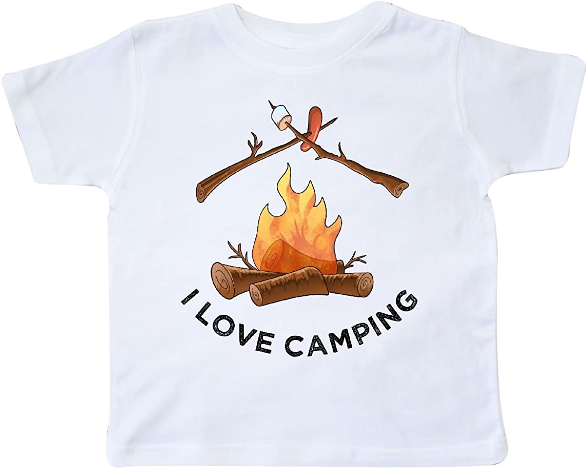 inktastic I Love Camping Campfire with Marshmallow and Hot Dog Toddler T-Shirt