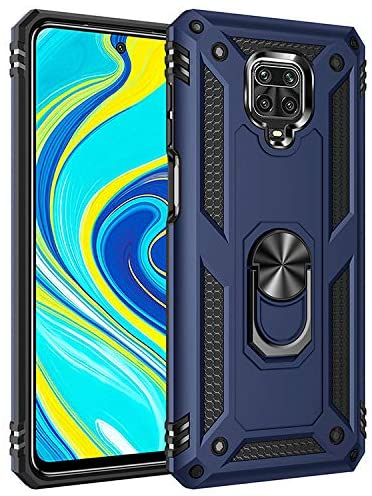 Asdsinfor Xiaomi Redmi Note 9 Pro Case Shockproof and Anti-Fall Protection Case with 360 Degree Metal Ring Magnetic Holder Base Bracket Cover for Redmi Note 9 Pro/Note 9 Pro Max/Note 9S Blue AC