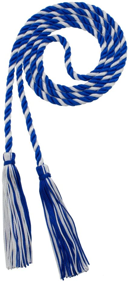 Honor Cord - ROYAL/WHITE - Every School Color Available - Made in USA - By Tassel Depot