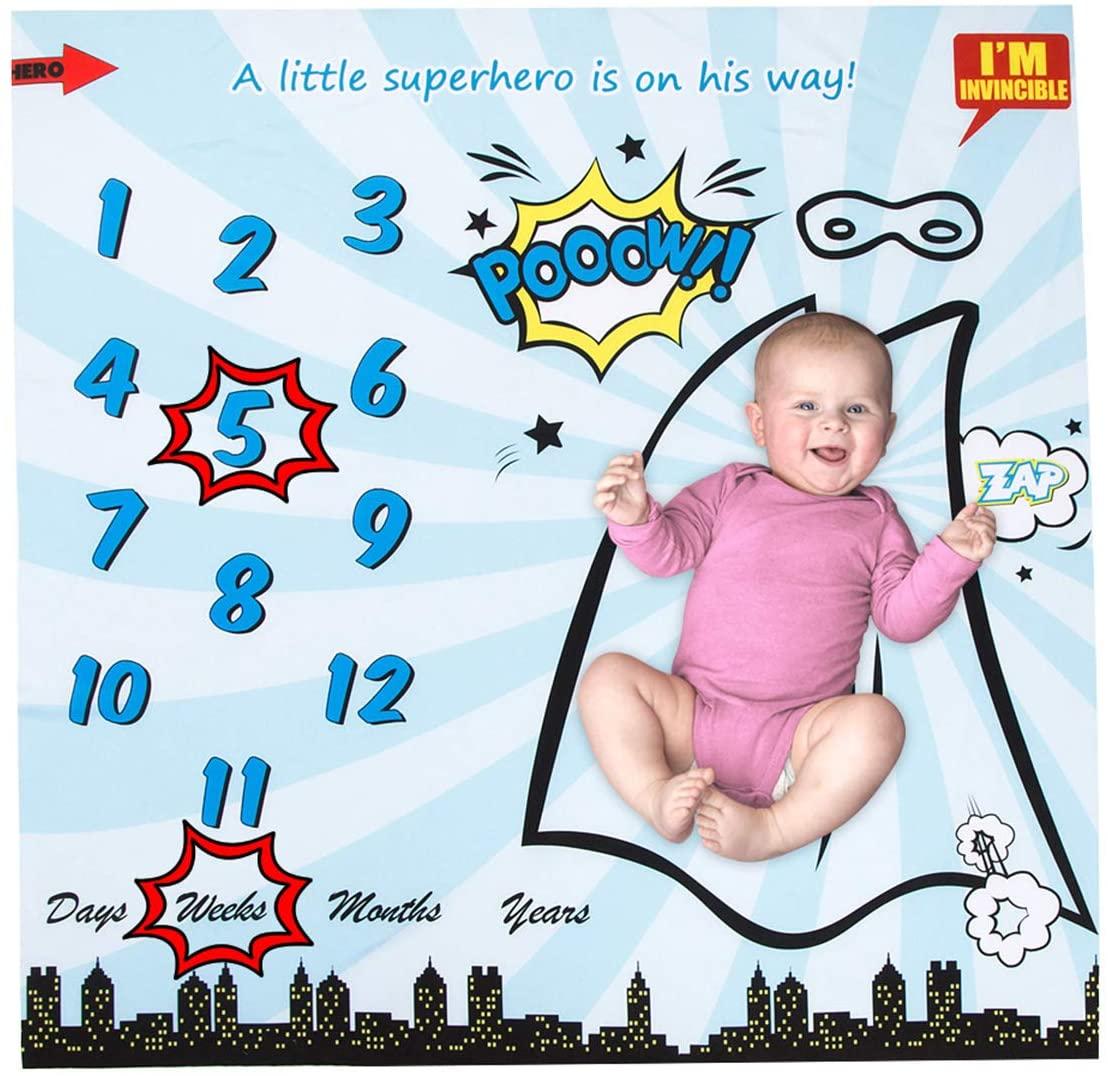 Mufuny Superhero Blanket,Print Swaddle Baby Monthly Milestone for Newborn Infant Baby Boy Girl Photography Backdrop Photo Prop Bonus Frame Included New Mom (4040 inch)