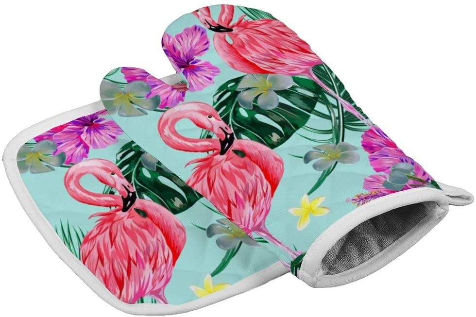 Oven Mitts and Pot Holders Set, Washable Heat Resistant Kitchen Non-Slip Grip Printed Oven Gloves for Microwave Cooking Baking Grilling-Beautiful Flowers and Flamingos