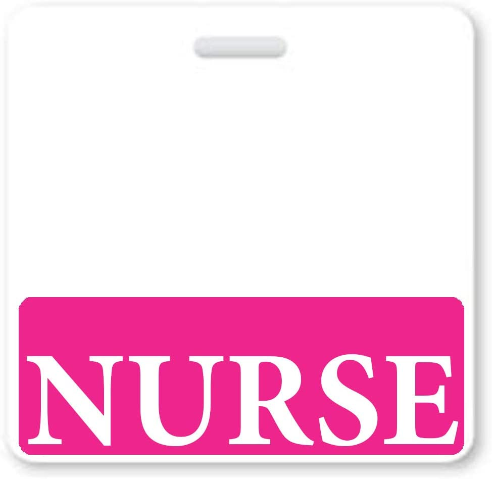 Nurse Badge Buddy - Heavy Duty Horizontal Badge Buddies for Nursing - Spill Proof & Tear Resistant Cards - Double Sided - Quick Role Identifier ID Backers - USA Printed by Specialist ID (1, Hot Pink)