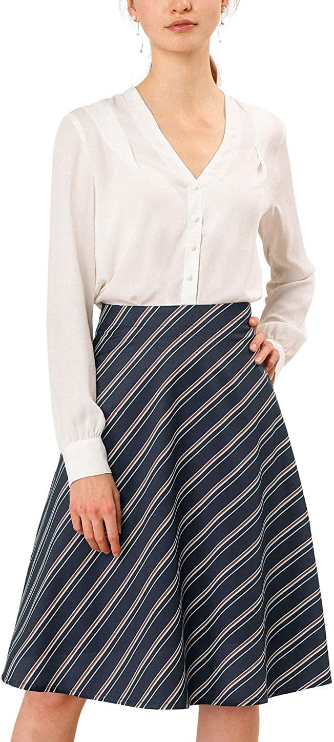Allegra K Women's Work Office Business Striped Elastic Back Waist a Line Midi Skirt