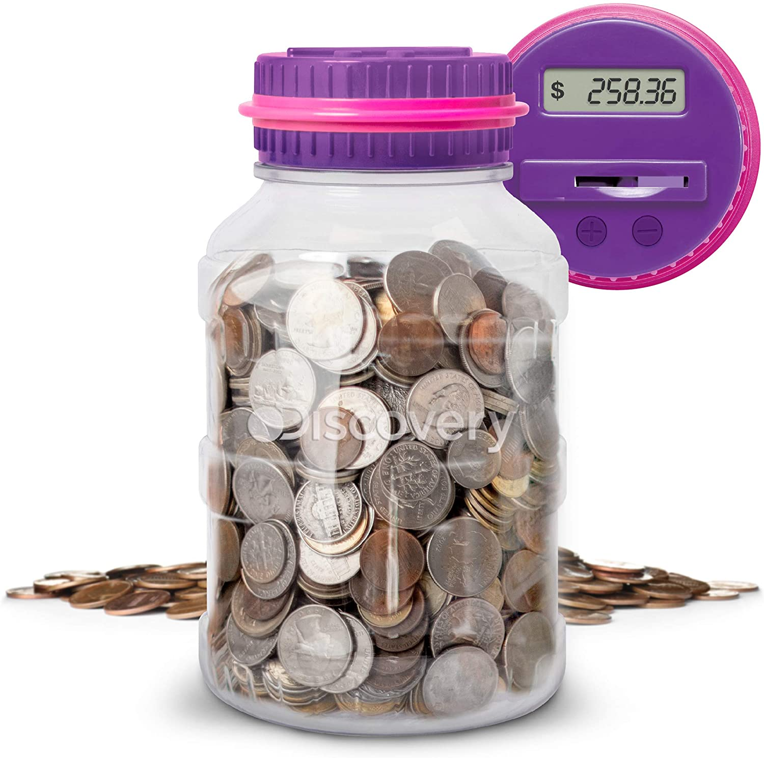 Discovery Kids Digital Coin-Counting Money Jar with LCD Screen, Purple