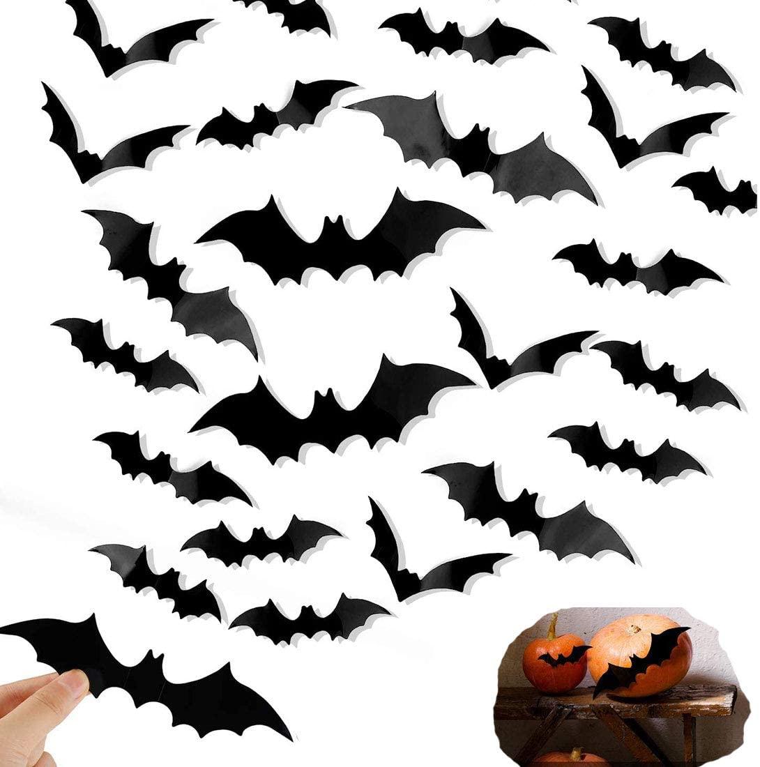 Halloween Decorations Bat Wall Decals Stickers Decor, 96 Pack 3D Bats Window Decals, Bat Halloween Door Decor
