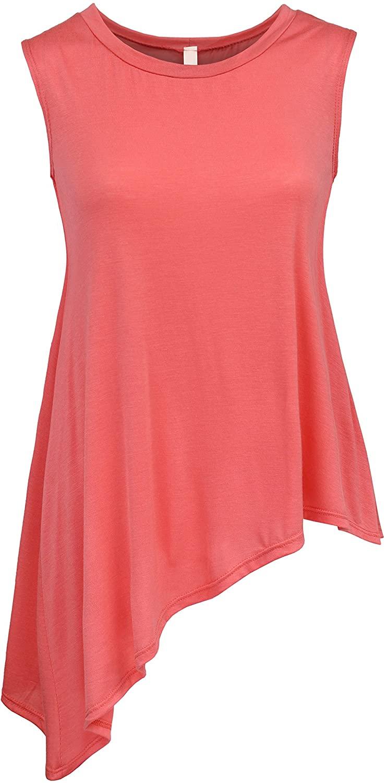BEKDO Womens Sleeveless Boat Neck Handkerchief Hem Solid Tunic Top