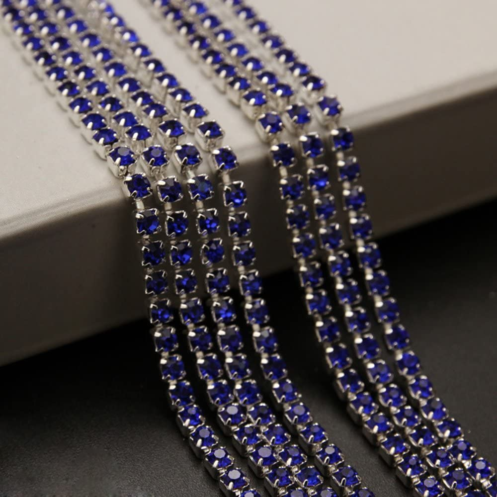 USIX 10 Yards Crystal Rhinestone Close Chain Trimming Claw Chain Multi Size Color Rhinestone Chain for DIY Arts Craft Sewing Jewelry Making, Cobalt-Silver Chain, SS12/3.0MM