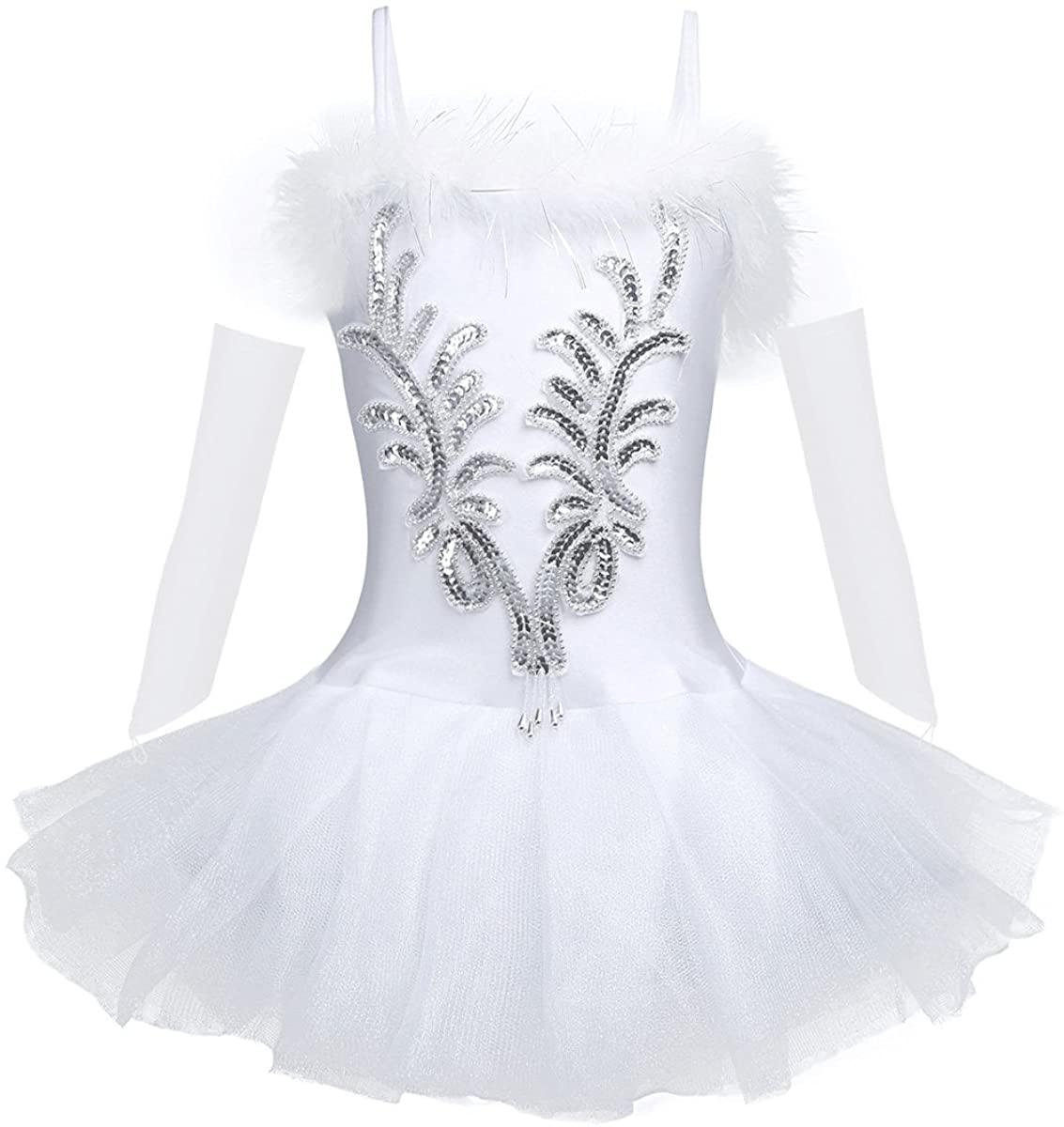 Kaerm Girls Kids Sequins Swan Lake Performance Costume Spaghetti Straps Tutu Dress with Gloves Hair Ballet Dancewear