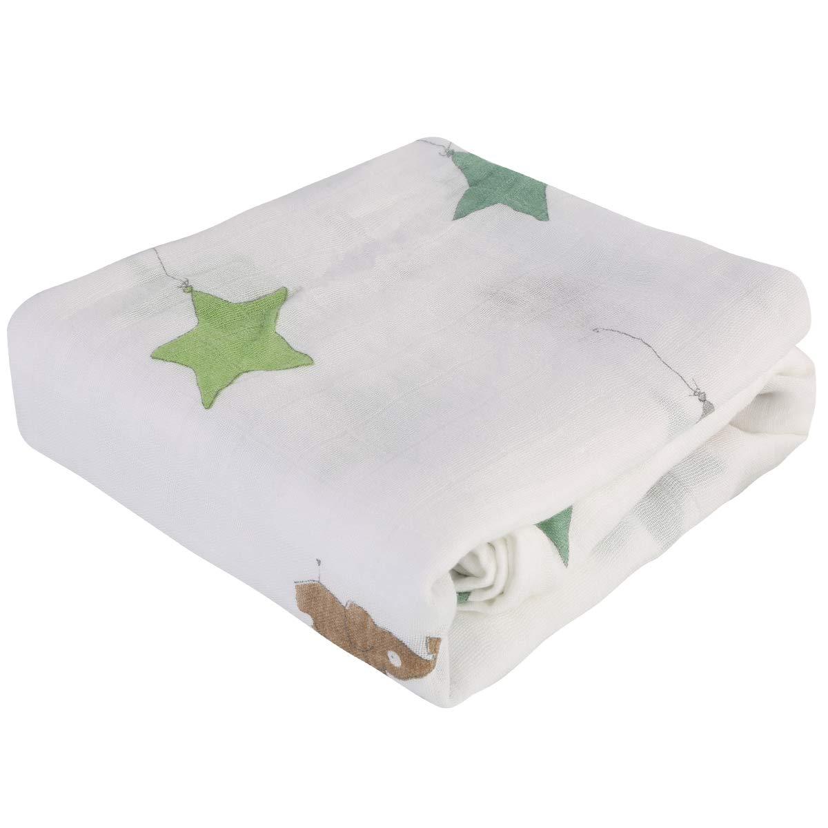 1PC Baby Swaddle Blanket Cartoon Animal Print Newborn Soft Receiving Blanket Wrap Bath Towel for Infant Boys Girls 47 x 47 in(Stars Elephant)