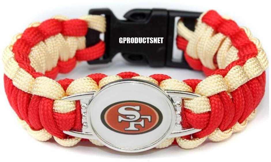 NFL San Francisco 49ers Paracord Bracelet for Women & Men - Paracord Survival Strap Bracelet