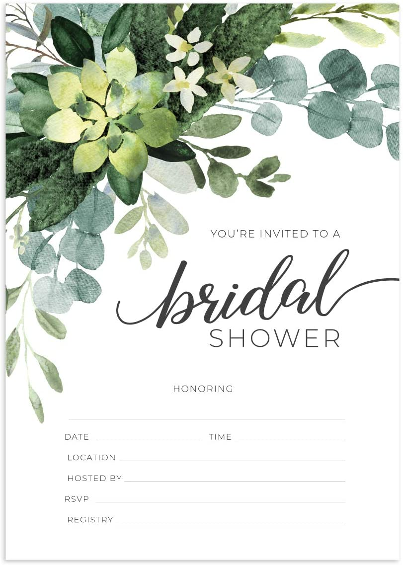 Greenery Fill in The Blank Bridal Shower Invitation / 50 Bridal Shower Invitations and Envelopes