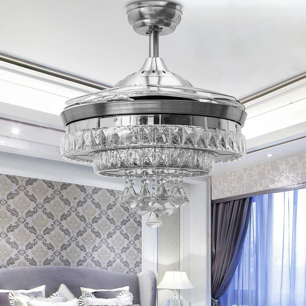 Huston Fan Modern Retractable Ceiling Fan with Light LED Crystal Chandelier Fan Remote Silent Hidden Invisible Fandelier 3 Color Changing 42 Inch Chrome Silver for Indoor Room