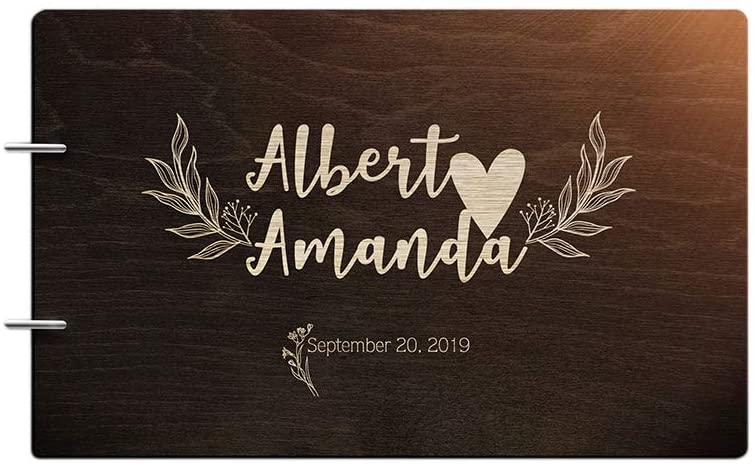 Just Customized Personalized Handmade Mr Mrs Wedding Guest Book for Bride and Groom Wood Alternative Custom Engraved Newlywed Marriage Album (Design 10, Chocolate Walnut)