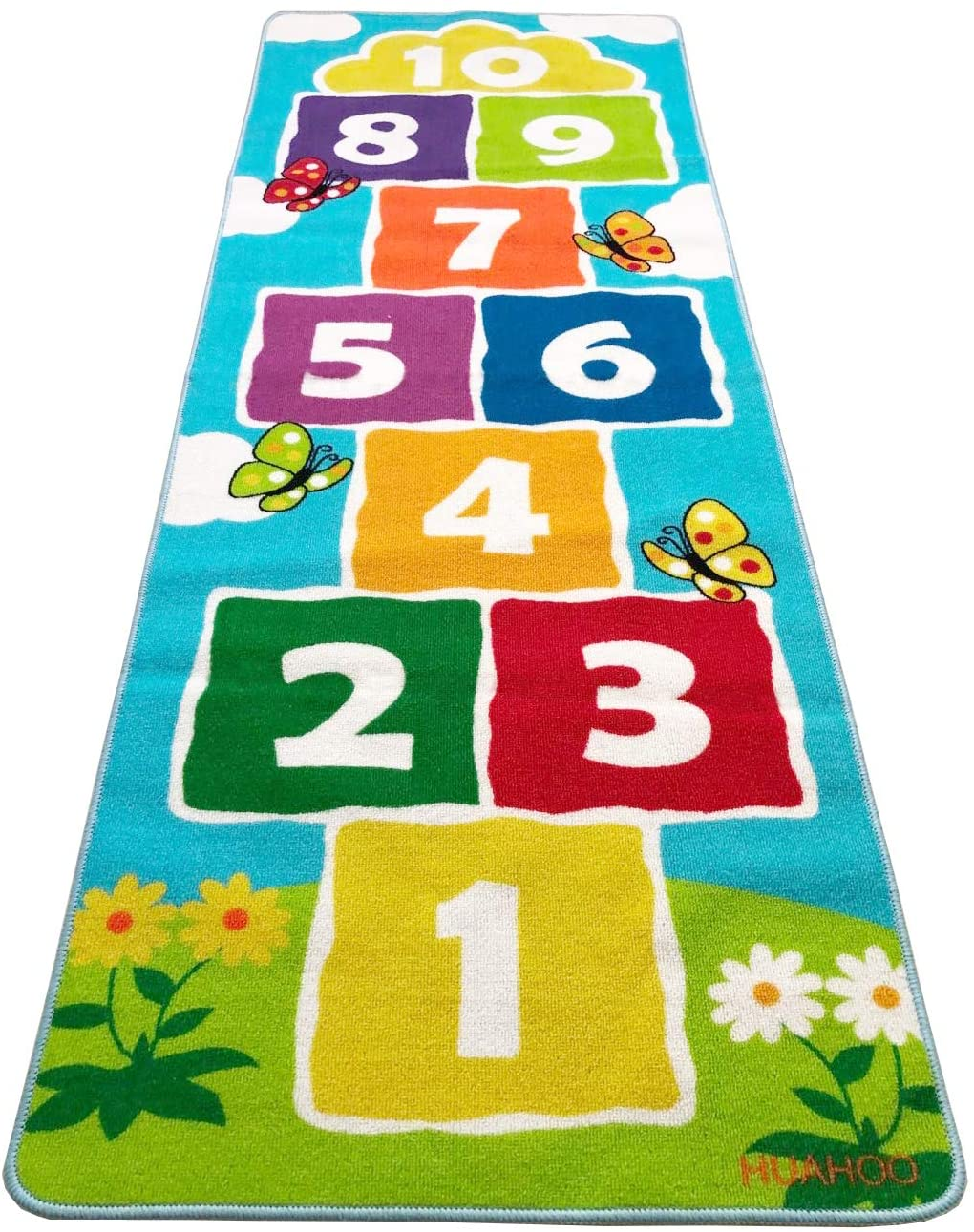 Hopscotch Rug Play Space & Room Decor, Sturdy Woven Floor Rug Children's Classroom Activity Rug (70.8 x 26.5 inch)