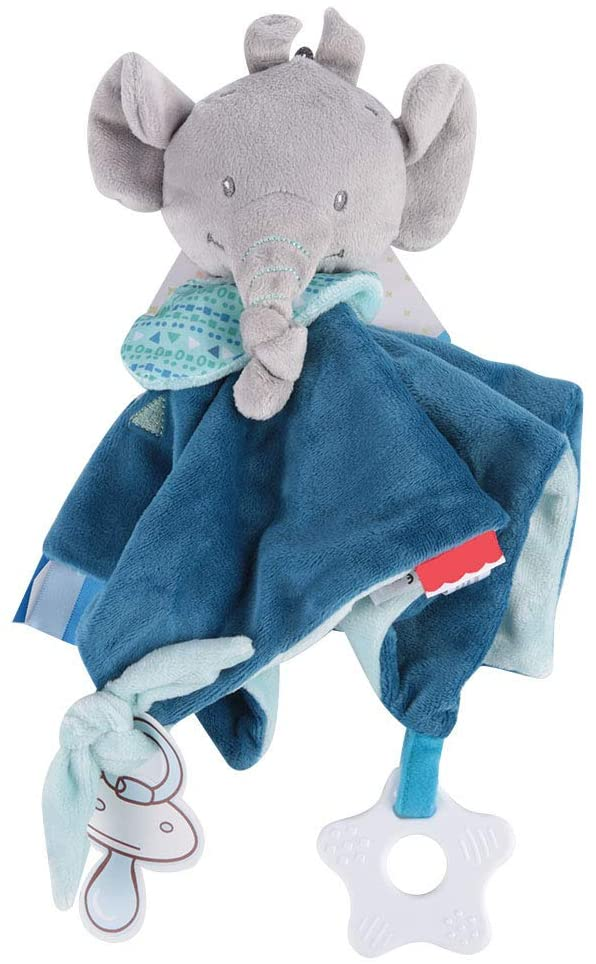 Baby Soothe Towel Baby Appease Towel Plush Stuffed Cartoon Animal Dog Soft Plush Comforting Toy for 0-36 Months Newborn Infants(Elephant)