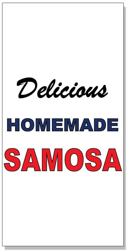 Delicious Homemade Samosa Blue Red Bar Restaurant DECAL STICKER Store Sign Sticks to Any Surface