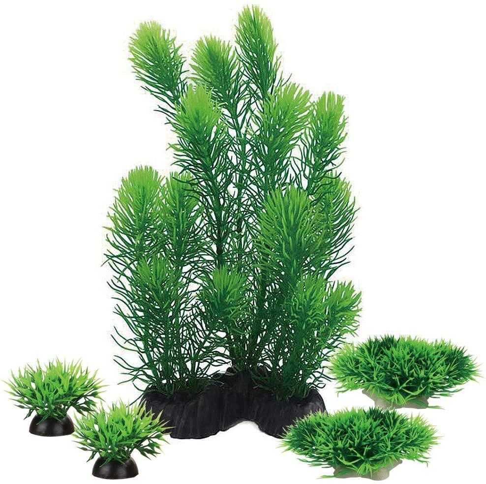 Smoothedo-Pets Aquariums Decorations Plants, Aquarium Aquascape Artificial Plastic Plant for Fish Tank Decor Green/Purple (Green Set)