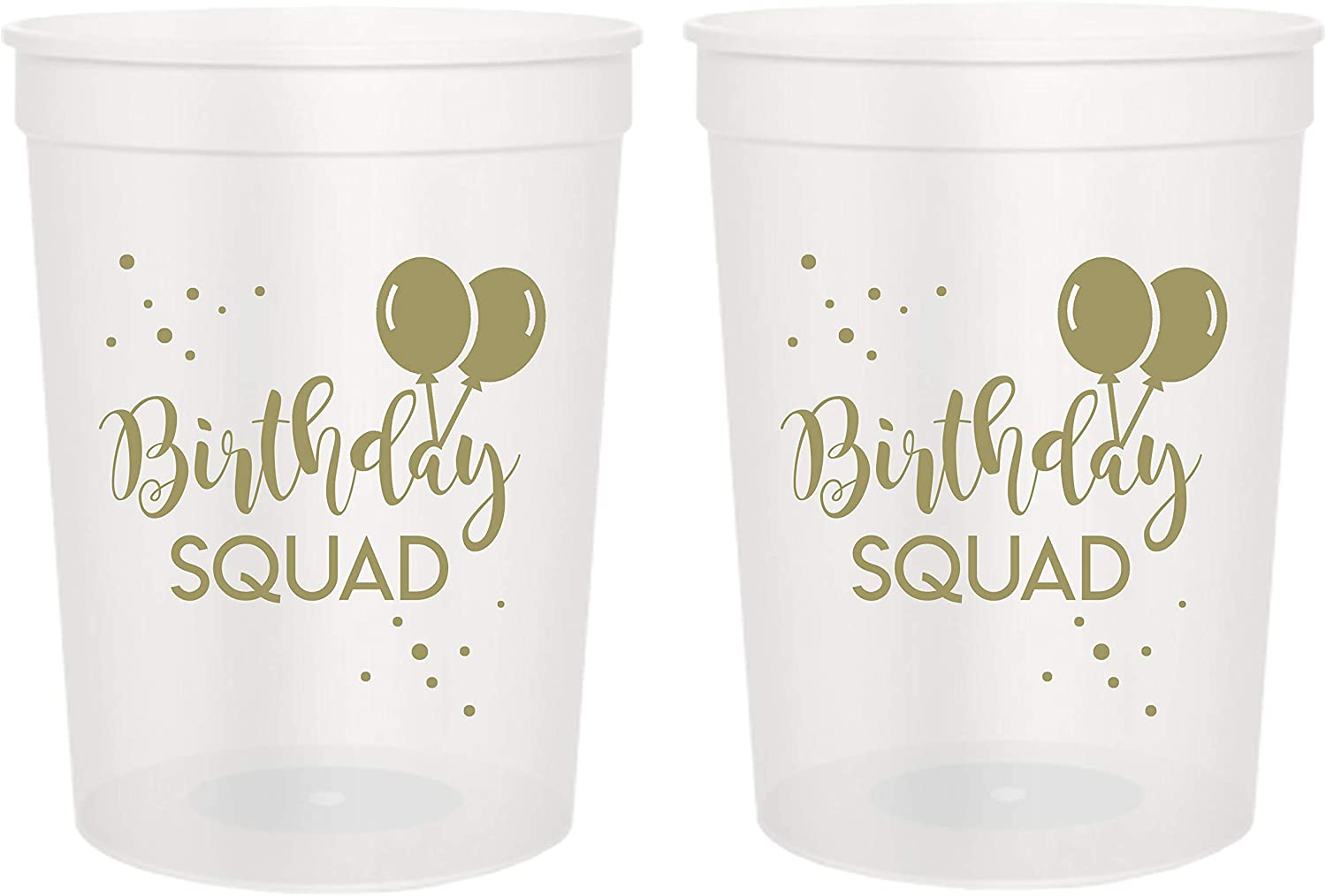 Birthday Squad Party Cups, Set of 12, 16oz Birthday Stadium Cups, Perfect for Birthday Parties, Birthday Decorations, All Birthday Events! (Clear)