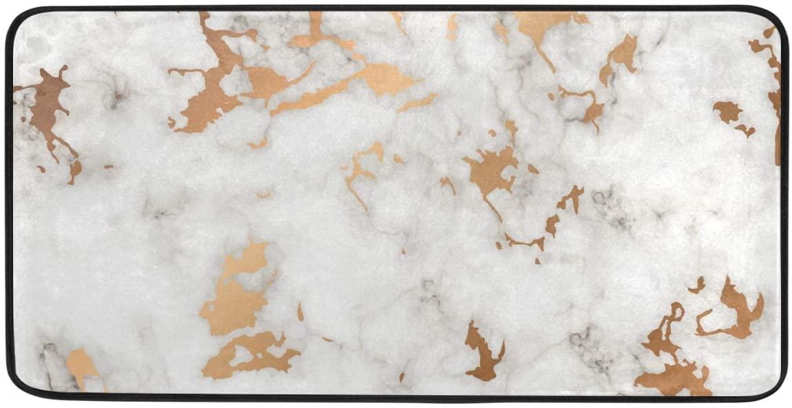 Marble Golden Splatter Spots Black and White Kitchen Mat Rugs Cushioned Chef Soft Non-Slip Floor Mats Washable Doormat Bathroom Runner Area Rug Carpet
