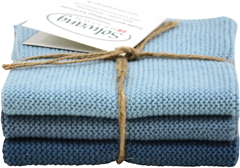 Solwang 3-Piece Danish Organic Cotton Dishcloths in 100% GOTS Certified DISHCLOTHS Made in India (Rustic Blue Organic Combi)