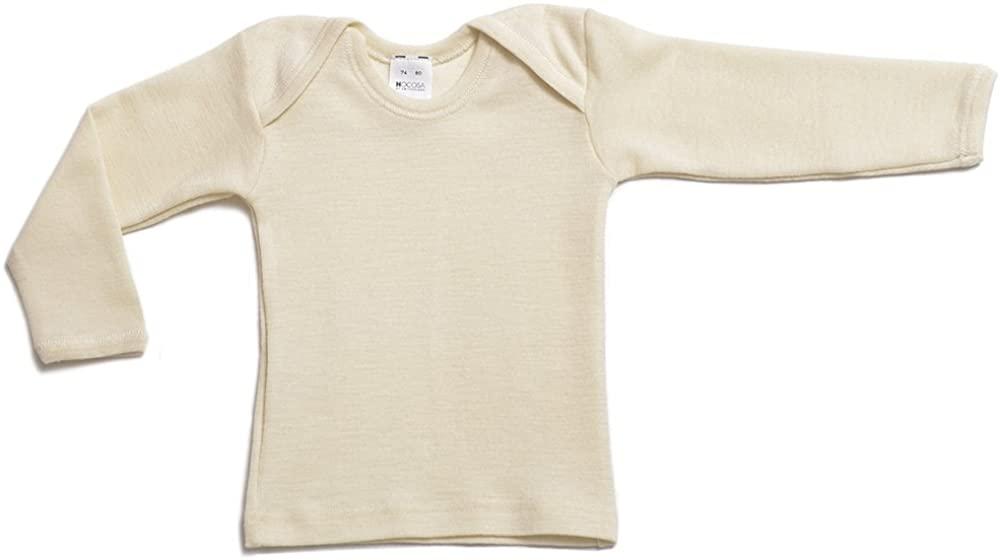 Hocosa Organic Merino Wool Baby Shirt, Long Sleeves, Envelope Neckline.