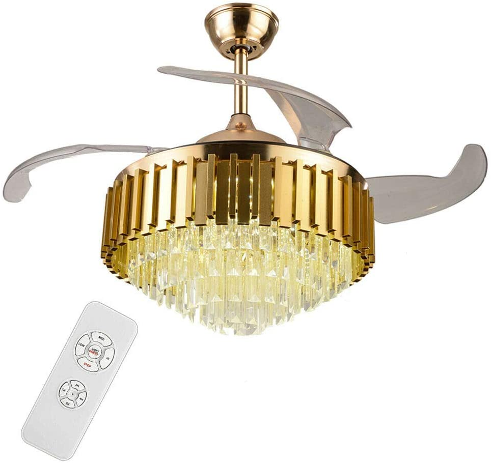 Munsinn 42 inch Ceiling Fan with Lights, Modern LED Crystal Lamp Ceiling Fan 4 Piece Invisible Fan Blade Silent Fan Pendant Light with Remote Control for Living Room Bedroom (Gold)