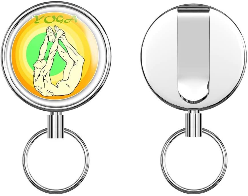 Yoga Dhanurasana Retractable Badge Holder Reel Metal ID Badge Holder with Belt Clip Key Ring for Name Card Keychain