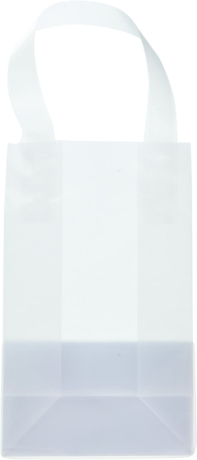 24 Clear Frosted Plastic Gift Bag with Craft Insert (Rose - 5x3x8)