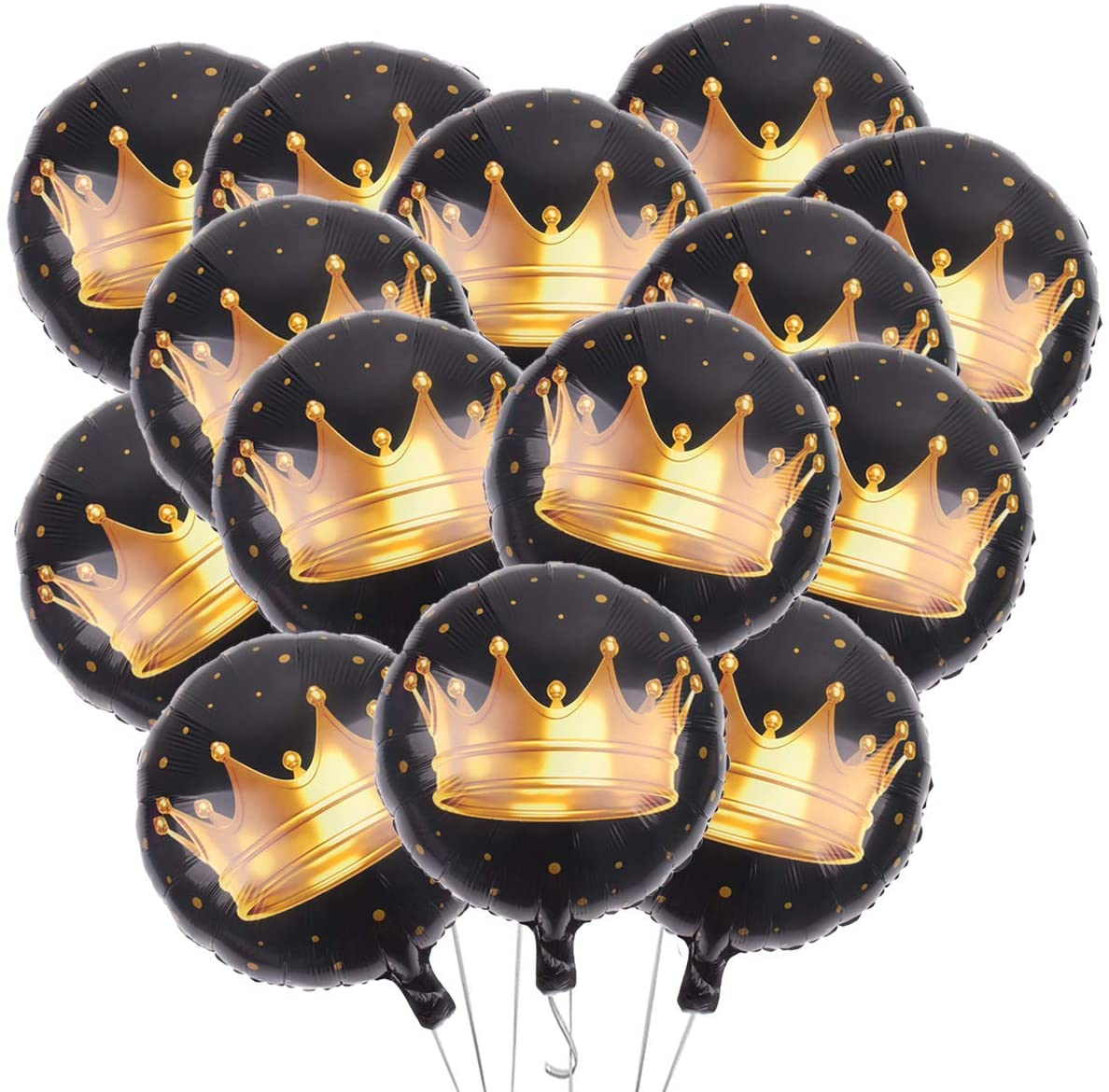 15Pcs 18 Inch Crown Balloons Happy Birthday Foil Balloons Round Black Mylar Balloons for Birthday Wedding Baby Shower Party Decoration