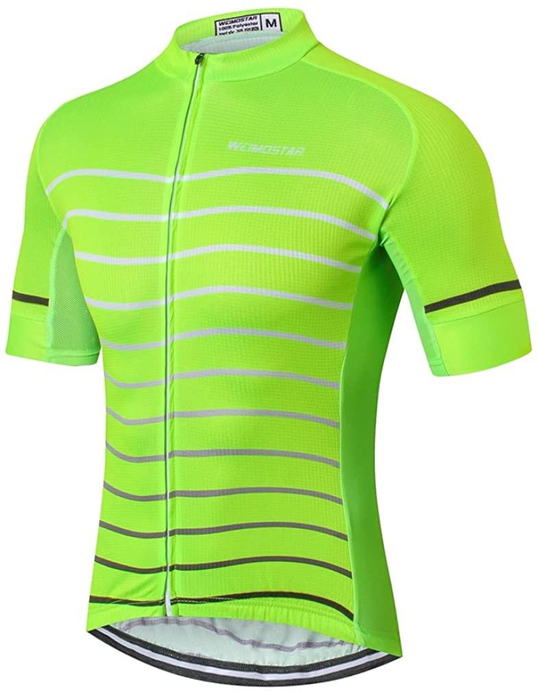 Weimostar Men's Cycling Jersey Men Mountain Bike Jerseys Short Sleeve Tops Lycra Cuff (Green 2# XL)
