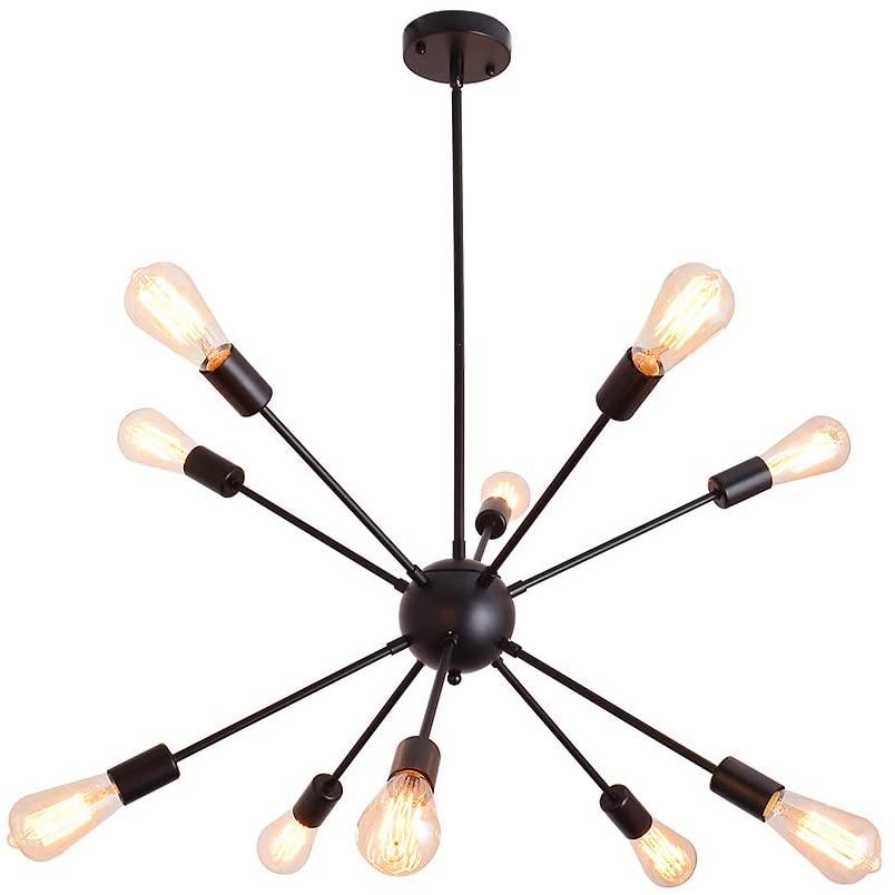 PUMING 10 Lights Sputnik Chandelier Black Industrial Ceiling Light Flush Mount Modern Mid-Century Pendant Light Fixture Hanging Lamp for Hallway Living Room Bedroom Kitchen Island Office Lighting