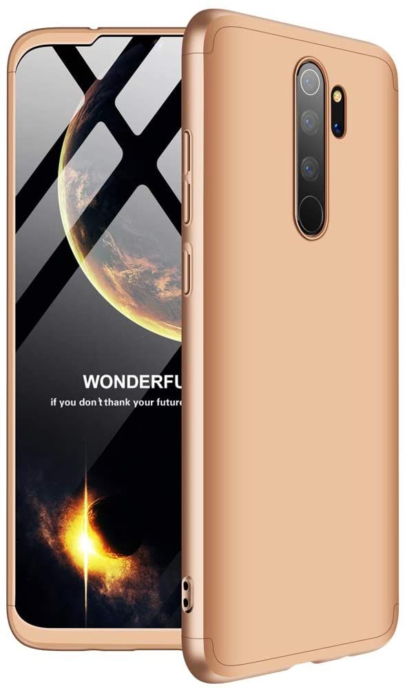 EMAXELERR Xiaomi Redmi Note 8 Pro Case 3 in 1 Ultra Slim 360°Degree Full Body Shockproof Protector Hard PC Plastic Anti-Scratch Cover for Xiaomi Redmi Note 8 Pro.3 in 1 PC:Gold