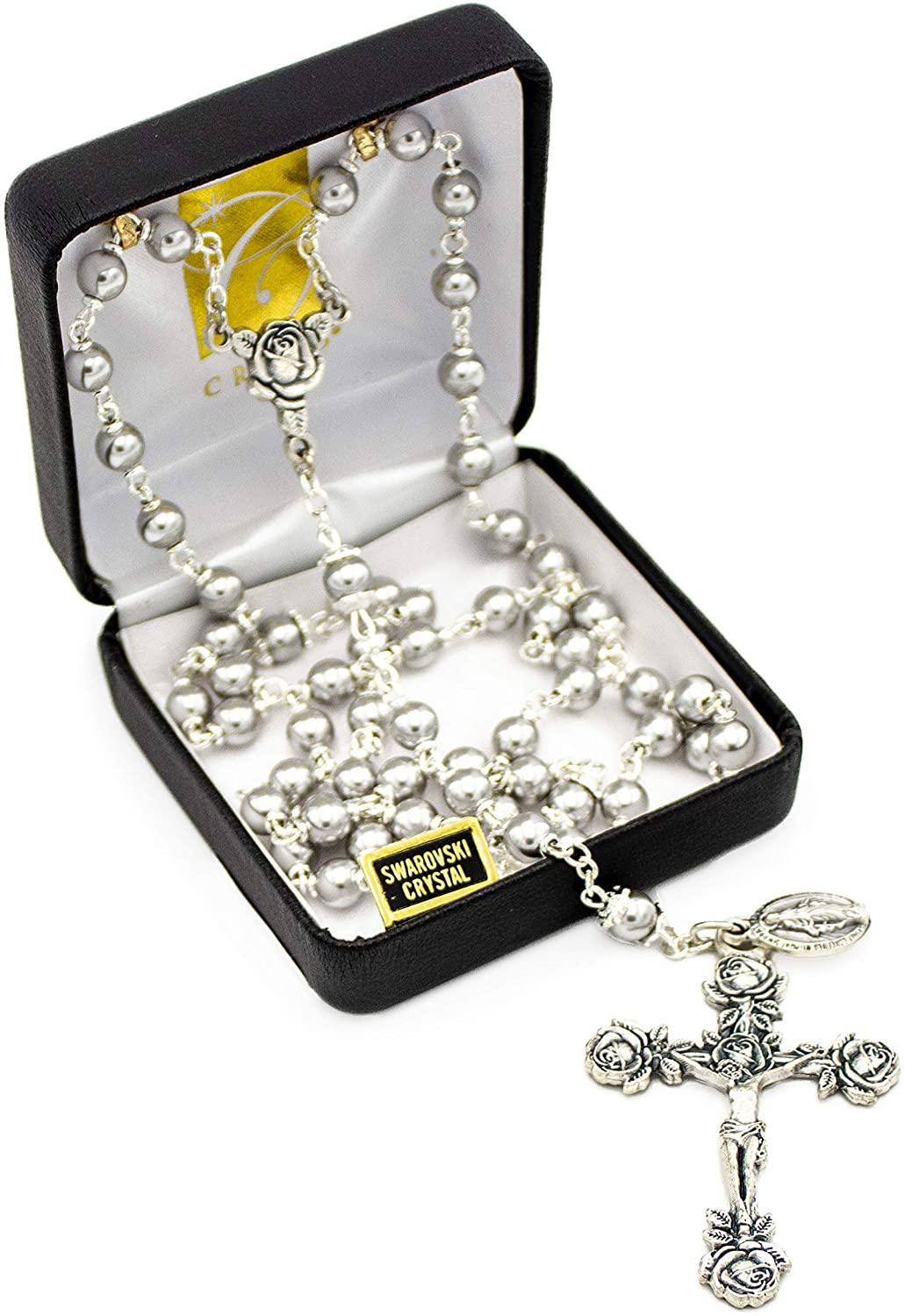 Catholic Silver Swarovski Pearls Shiny Gray Silver beads Rosary Necklace with Rose Detailed 2