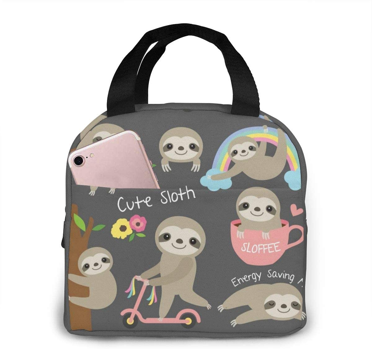 MSGUIDE Cute Sloth Insulated Lunch Bag Leakproof Cooler Lunch Box for Men Women Adult - Reusable Thermal Tote Bag for Office Work School Picnic Beach