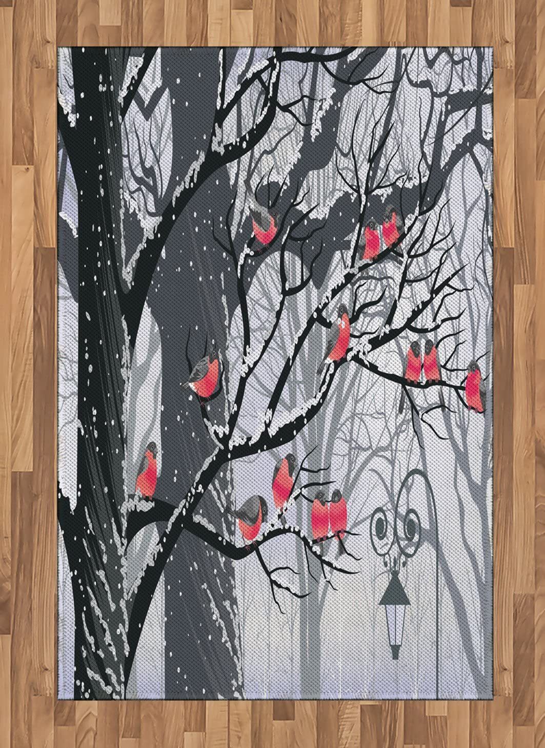 Ambesonne Winter Area Rug, Bullfinches on Trees Winter City Park Snow Cold Weather Immigrant Birds Design, Flat Woven Accent Rug for Living Room Bedroom Dining Room, 4' X 5.7', Grey Coral