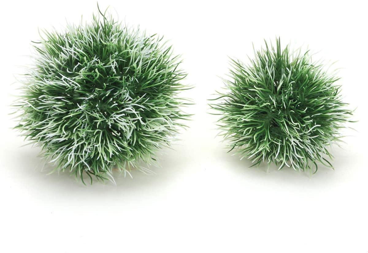 JIH Aquarium Plastic Plants Ball,Easy Plant Sets - 2 Piece Plastic Marimo Fish Tank Decorations (Green White)