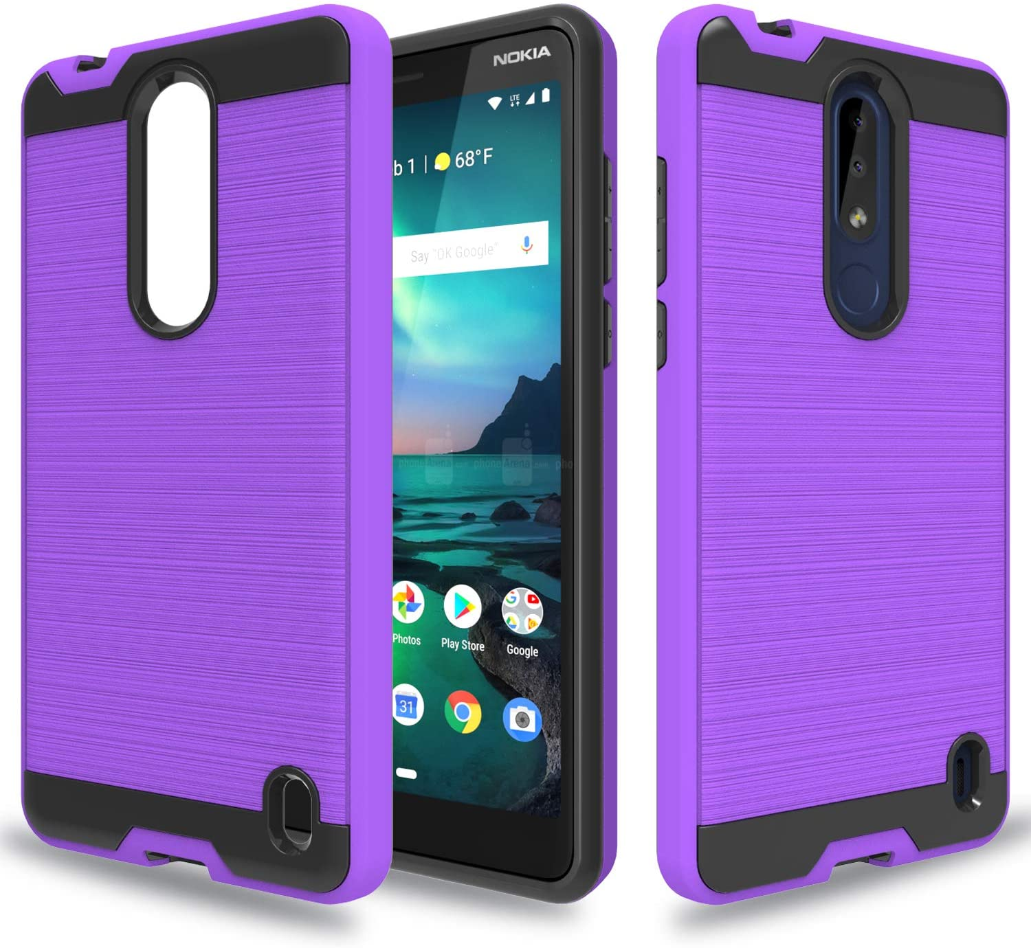 Wtiaw for:Nokia 3.1 Plus Case,Nokia 3.1 Plus Phone Cases,[TPU+PC Material] [Brushed Metal Texture] Hybrid Dual Layer Defender Case for Nokia 3.1 Plus-CL Purple